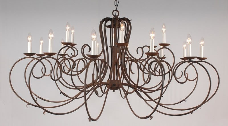 Elegant 18-arm Wrought Iron Chandelier