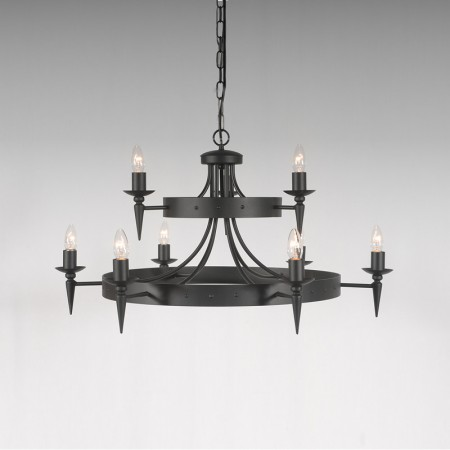 The 'Clipsham' Collection'  9 Arm (6 + 3), 2 Tiered Wheel Chandelier