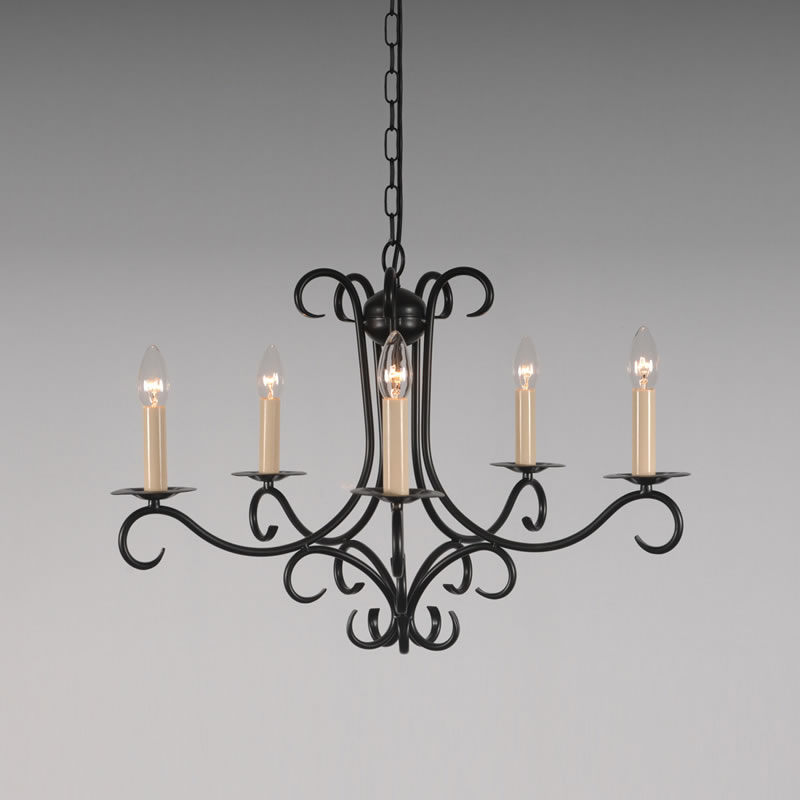 the elton 5 arm wrought iron candle chandelier bespoke lighting co