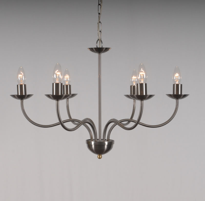 The Haconby 6 Arm Wrought Iron Candle Chandelier