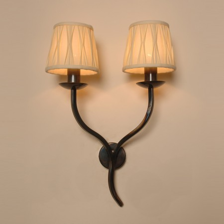 The Exton Twin Candle Wrought Iron Wall Light Bespoke
