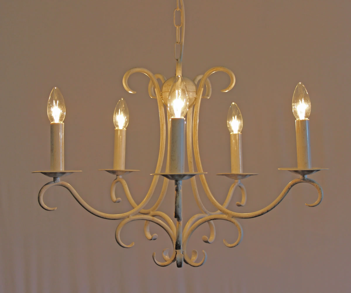 The elton 5 arm wrought iron candle chandelier
