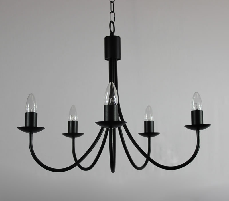The Grand Belton 5 Arm Wrought Iron Candle Chandelier