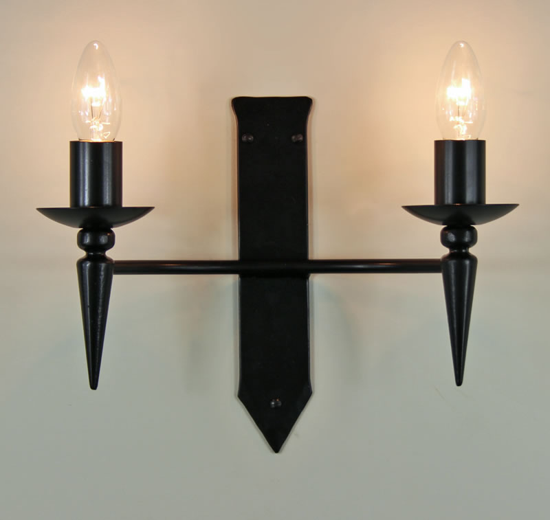 The clipsham twin wrought iron wall light bespoke lighting co the clipsham twin wrought iron wall light aloadofball Choice Image