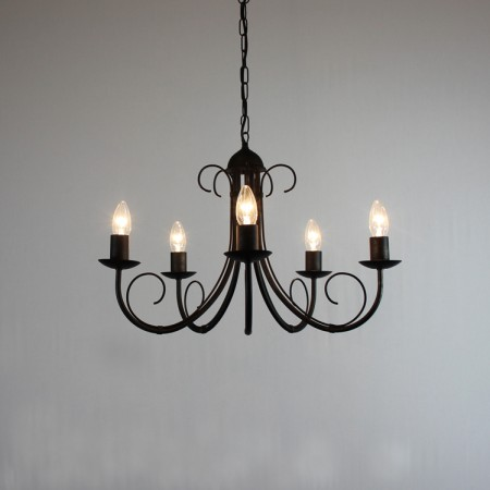 "The ""Hambleton"" Collection - 5 Arm Wrought Iron Chandelier"