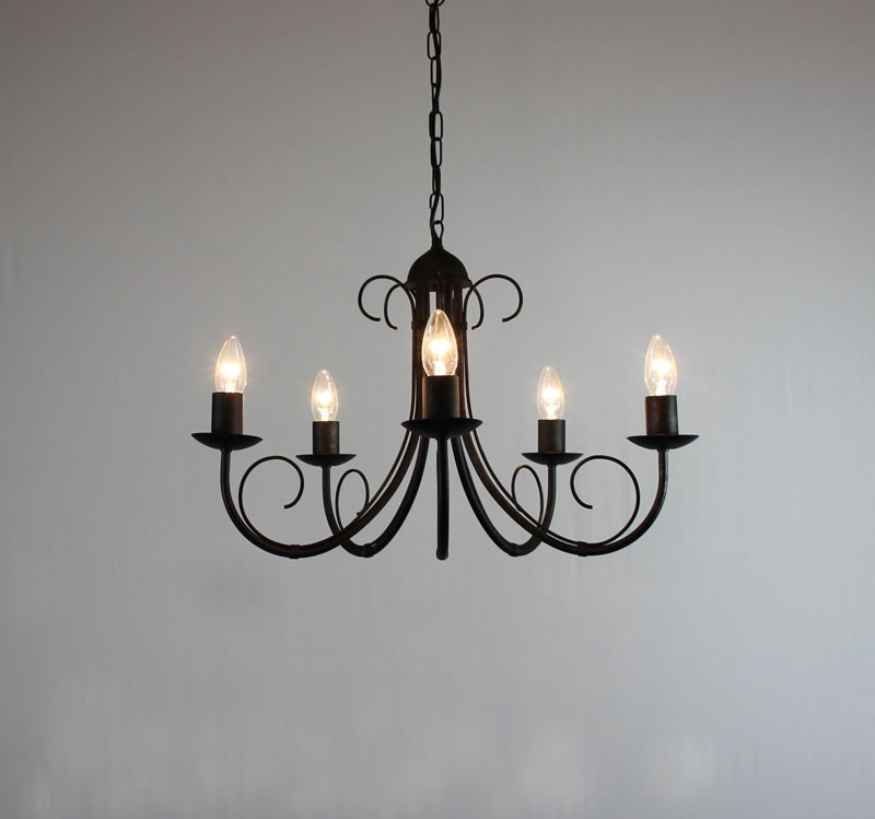 The Hambleton Collection 5 Arm Wrought Iron Chandelier