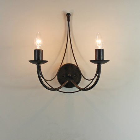 IMG_2215The 'Tinwell' Collection -  Twin Candle Wrought Iron Wall Light
