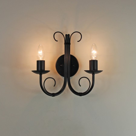"The ""Hambleton"" Twin Wrought Iron Wall Light"