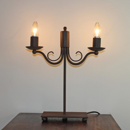 "The ""Edenham"" Twin Wrought Iron Side Lamp"