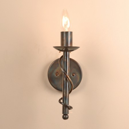 Wall lights bespoke lighting co the wansford single candle wrought iron wall light mozeypictures Images