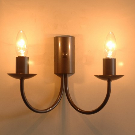 Double wall lights bespoke lighting co the wilsthorpe twin candle wrought iron wall light mozeypictures Images