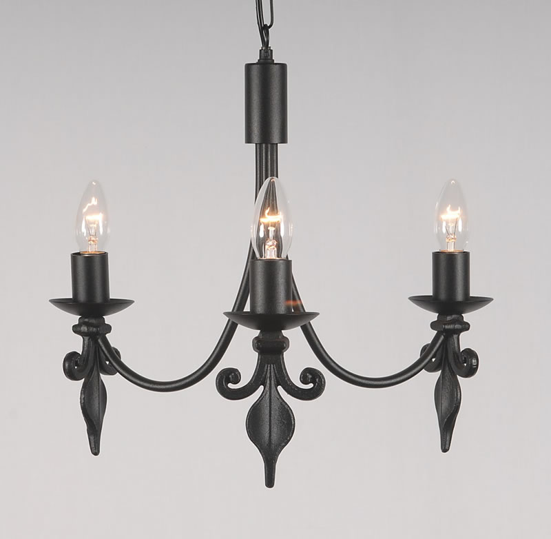The Fleur De Lys 3 Arm Wrought Iron Candle Ceiling Light