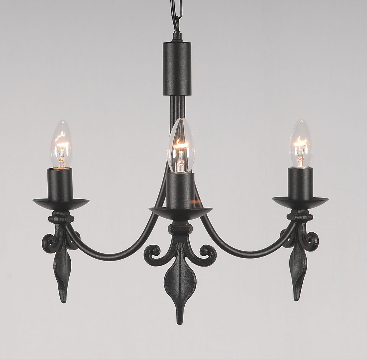 The fleur de lys 3 arm wrought iron candle ceiling light bespoke the fleur de lys collection 3 arm candle ceiling light mozeypictures Gallery
