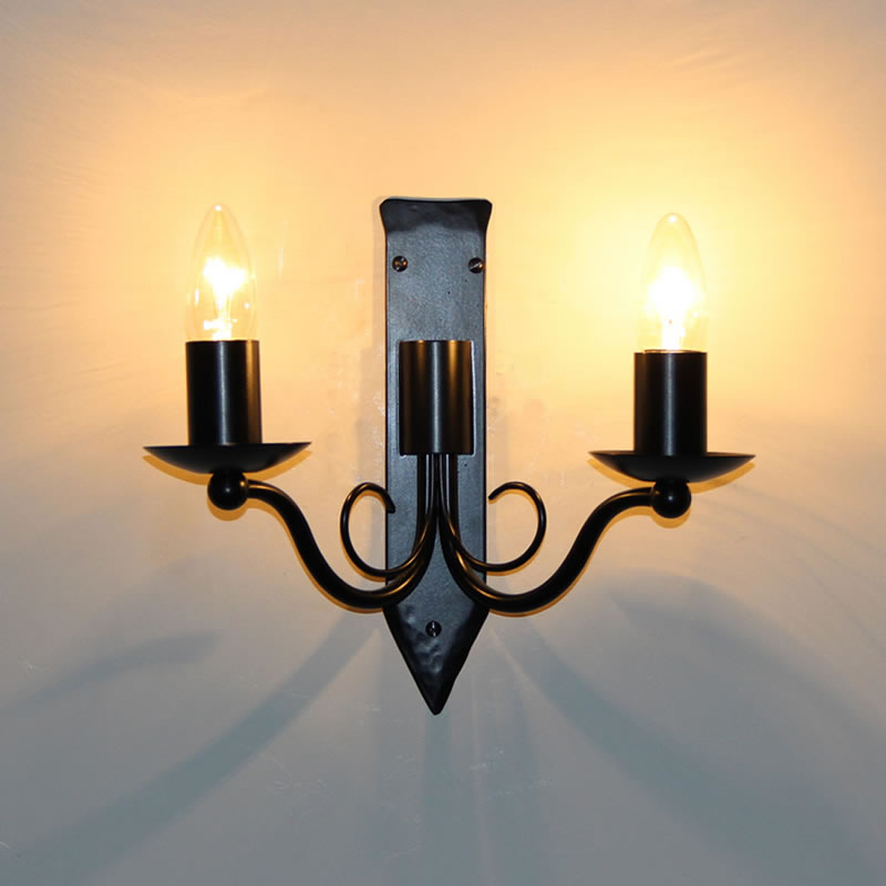 The Edenham Twin Candle Wrought Iron Wall Light