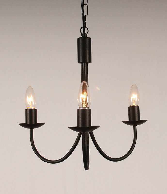 The Belton 3 Arm Wrought Iron Candle Chandelier