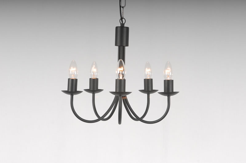 The Belton 5 Arm Wrought Iron Candle Chandelier
