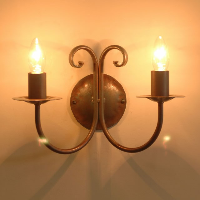 The Newstead Twin Candle Wrought Iron Wall Light